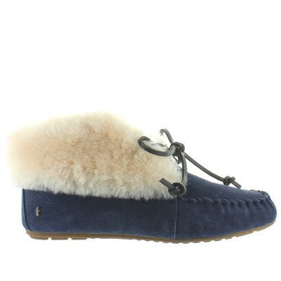 EMU Burra - Midnight Suede Furry Cuff Moc Slipper