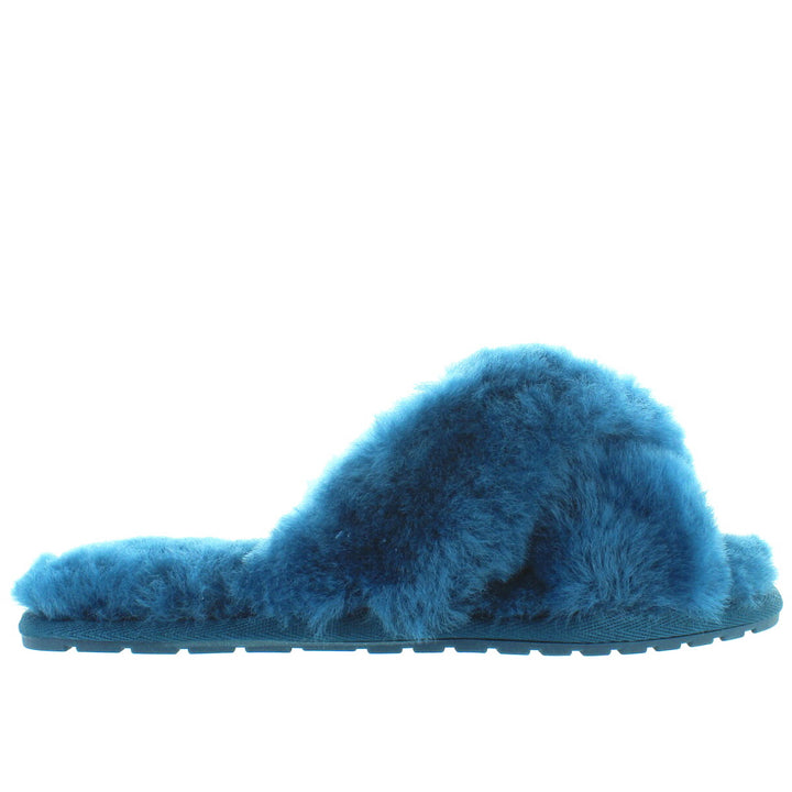 EMU Mayberry - Teal Furry Crisscross Slide Slipper