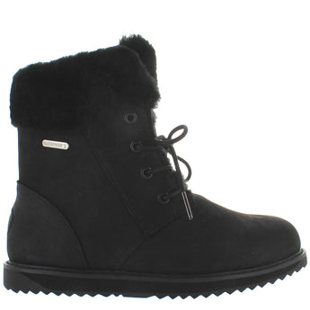EMU Australia Shoreline - Waterproof Black Leather Fur-Lined Lace Boot