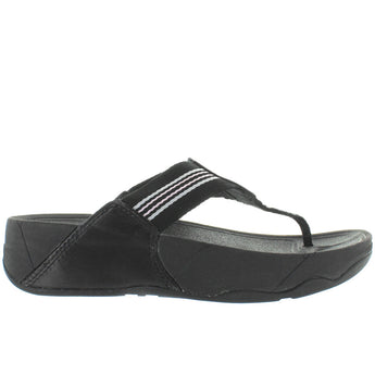 FitFlop Walkstar - Black Leather/Rubber Platform/Wedge Footbed Flip-Flop
