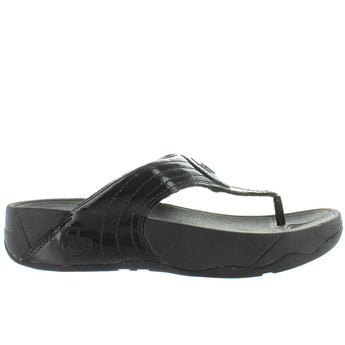 FitFlop Walkstar 3 - Black Patent/Rubber Platform/Wedge Footbed Flip-Flop