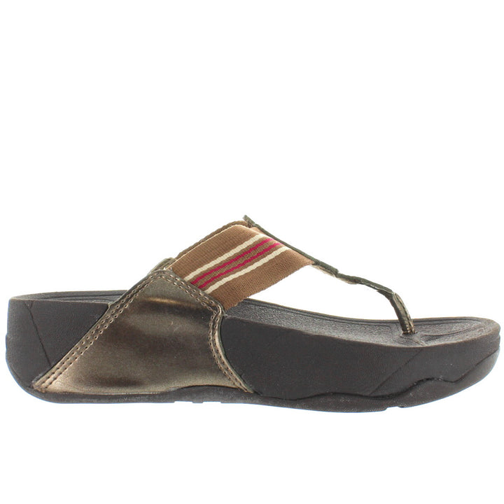 FitFlop Walkstar - Bronze Rubber Platform/Wedge Footbed Flip-Flop