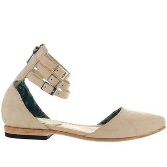 Freebird Eden - Natural Distressed Leather Triple Buckle Ankle Strap Flat