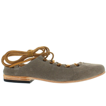 Freebird Enya - Grey Suede Leather Tie Flat