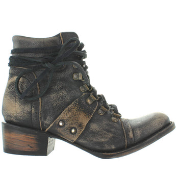 Freebird Gage - Black Distressed Leather Spring Toe Bootie