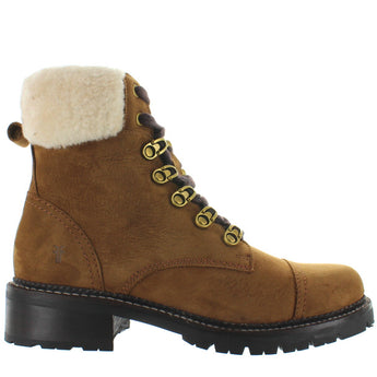 Frye Boot Samantha Hiker - Brown Suede Fur-Collar Hiking Boot