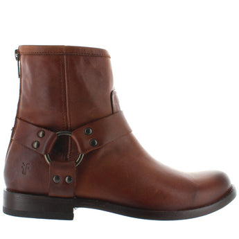 Frye Boot Phillip Harness Short - Cognac Leather Back Zip Harness Boot