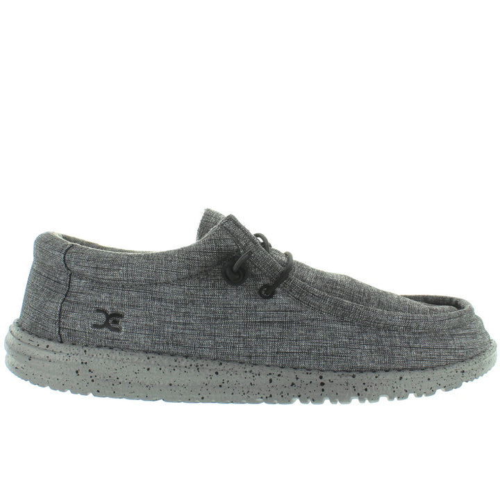 Hey Dude Wally Stretch - Steel Stretch Fabric Athleisure Wallabee