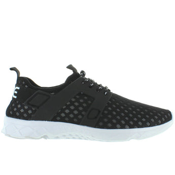 Hey Dude Mistral - Black Laser-Cut Nylon Lace Sneaker