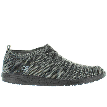 Hey Dude Wally Knit - Black/White Knit Athleisure Wallabee