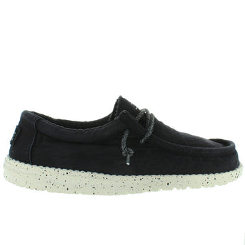 Hey Dude Wally Wash - Black Canvas Athleisure Wallabee