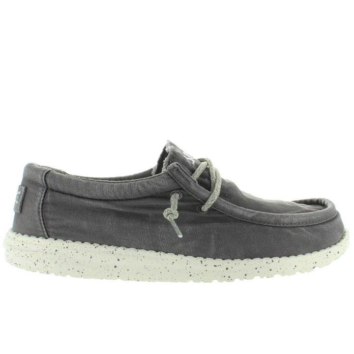 Hey Dude Wally Wash - Dark Grey Canvas Athleisure Wallabee