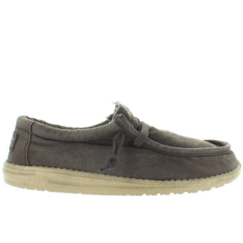 Hey Dude Wally Wash - Mud Canvas Athleisure Wallabee