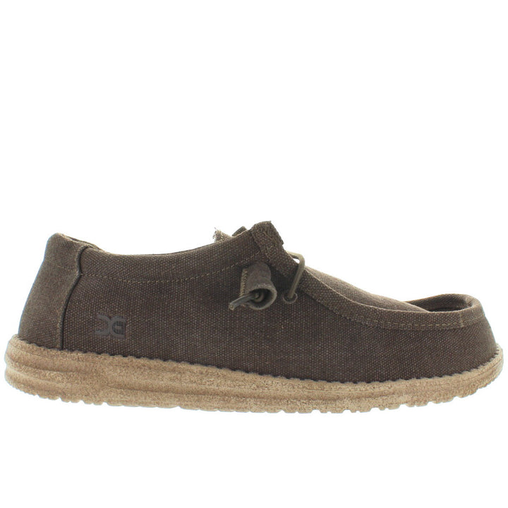 Hey Dude Wally - Chocolate/Tan Linen Athleisure Wallabee