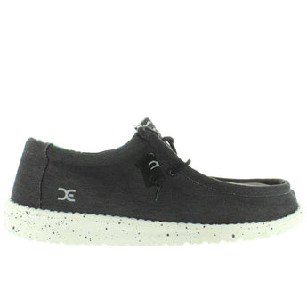Hey Dude Wally Stretch - Black Woven Fabric Slip-On Sneaker