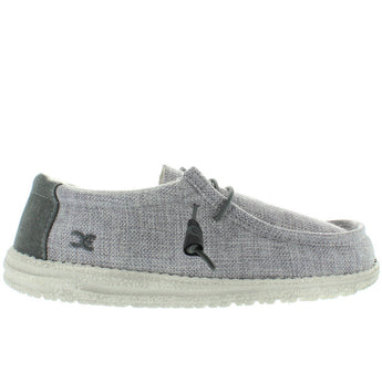 Hey Dude Wally - Grey/White Woven Canvas Athleisure Wallabee