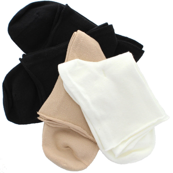 Hue Roll Top Shortie 4-Pack - White Sock Set