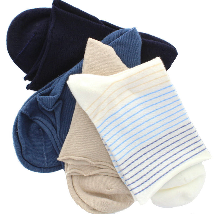 Hue Roll Top Shortie 4-Pack - Stripe Sock Set
