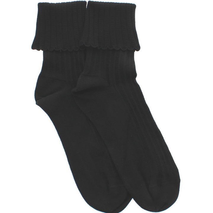 Hue Scalloped Pointell Sock - Black Ribbed Sock