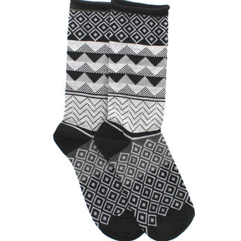 Hue Jeans Sock - Black Geometric Sock