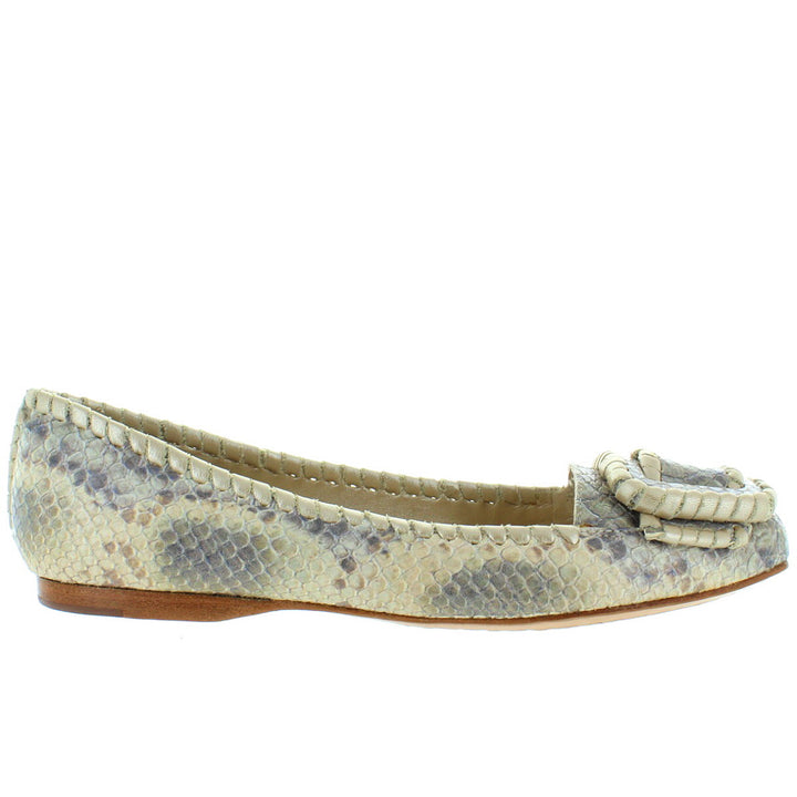 Jack Rogers Belle - Creme Multi Python Printed Leather Buckle Flat