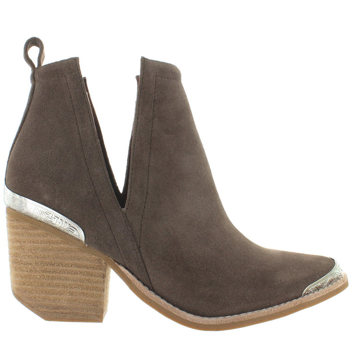 Jeffrey Campbell Cromwell - Taupe Distressed Suede Western Bootie
