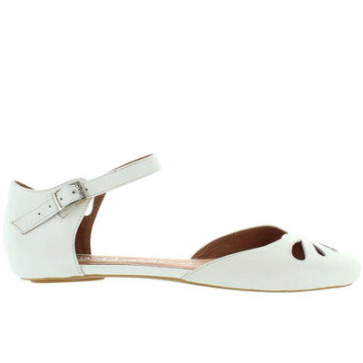 Jeffrey Campbell Imogen - White Leather Mary-Jane Flat