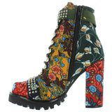 Jeffrey Campbell Lilith 2 - Floral Nylon Multi Combat Boot