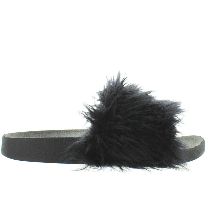 Jeffrey Campbell Lucky Me - Black Furry Footbed Slide Sandal