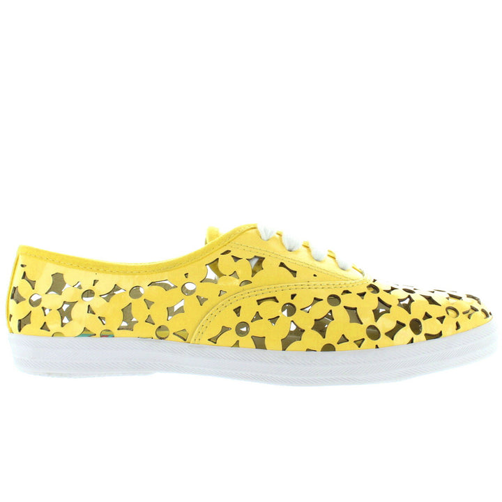 Jeffrey Campbell Peg Daisy - Yellow Patent Floral Laser Cut Low-Top Sneaker