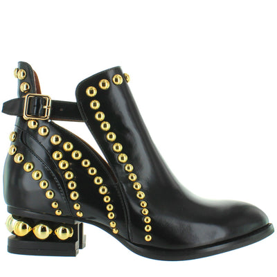 Jeffrey Campbell Rylance - Black Box Leather Goldtone Studded Bootie