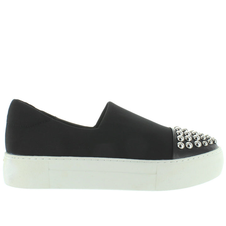 J Slides Aristocrat - Black Lycra Hardware Embellished Slip-On Flatform Sneaker