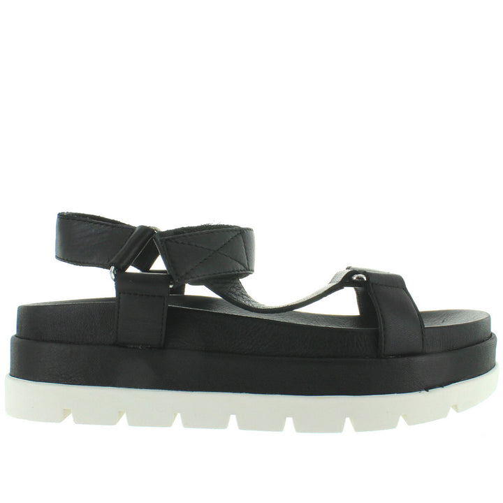 JSlides Blakely - Black Leather High Platform Footbed Sandal