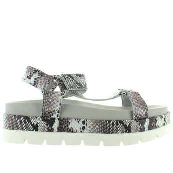 JSlides Blakely - Black/White Snake Embossed Leather High Platform Footbed Sandal