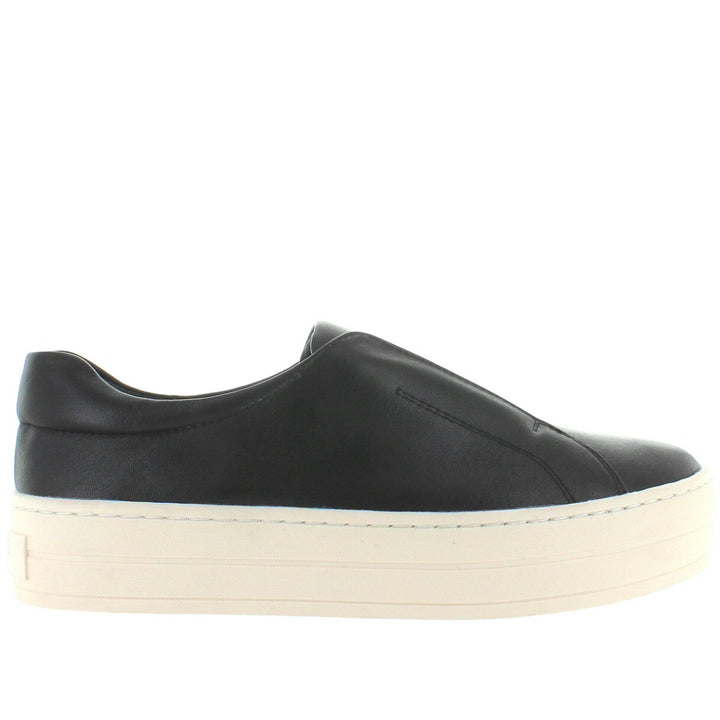 JSlides Heidi - Black Leather Slip-On Platform Sneaker