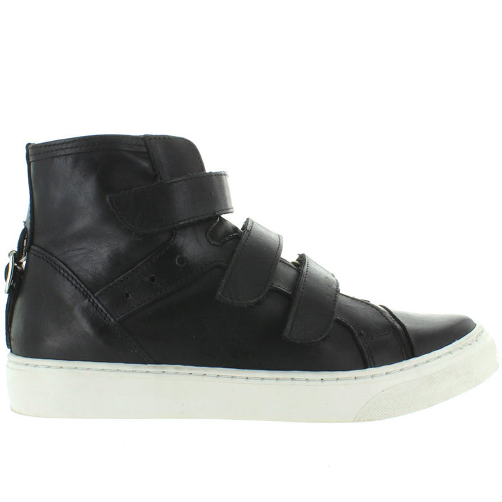 J Slides Prima - Black Leather Triple Strap High Top Sneaker
