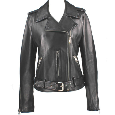 Kixters Vera - Black Leather Belted Motorcycle Jacket