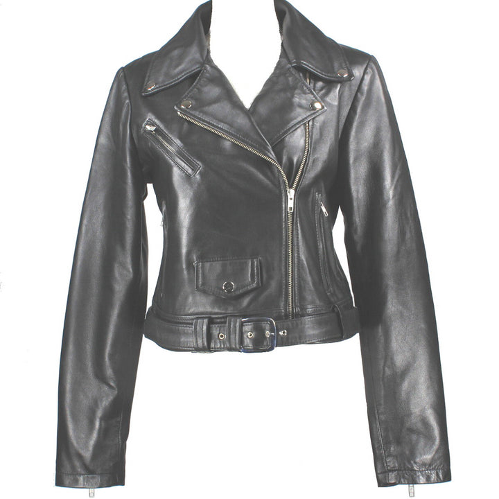 Kixters Didi - Black Leather Belted Motorcycle Jacket