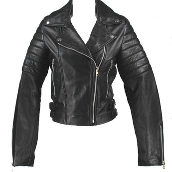 Kixters Ace - Black Leather Cropped Motorcycle Jacket