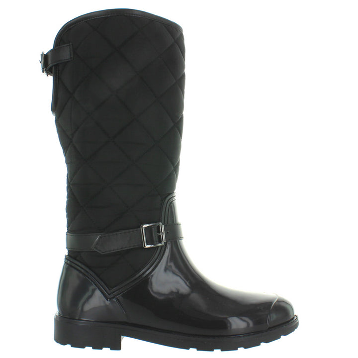 Kixters Bear - Black Shiny Rubber/Nylon Quilted Dual-Buckle Tall Rain Boot