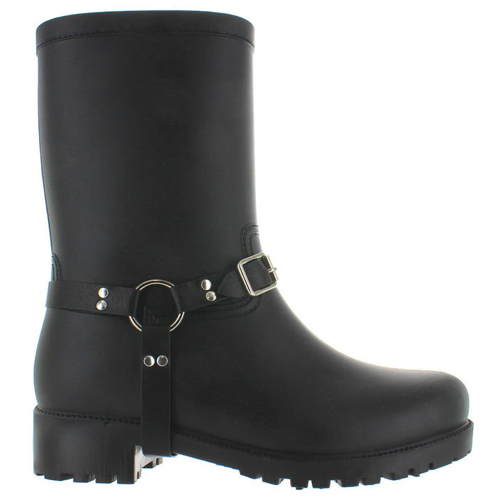 Kixters Engine - Black Matte Rubber Engineer Rain Boot
