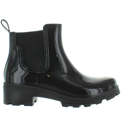 Kixters Fisher - Black Shiny Short Pull-On Rubber Rain Boot