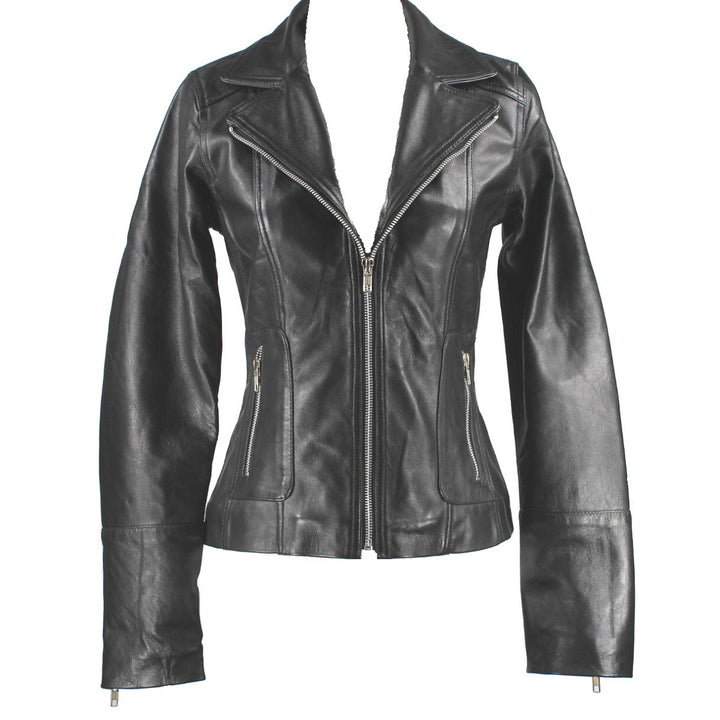 Kixters Hera - Black Leather Motorcycle Jacket