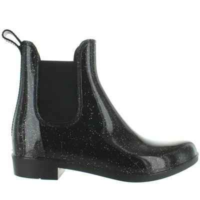Kixters Jodith - Midnight Blue Sparkle Patent Pull-On Rubber Rain Boot