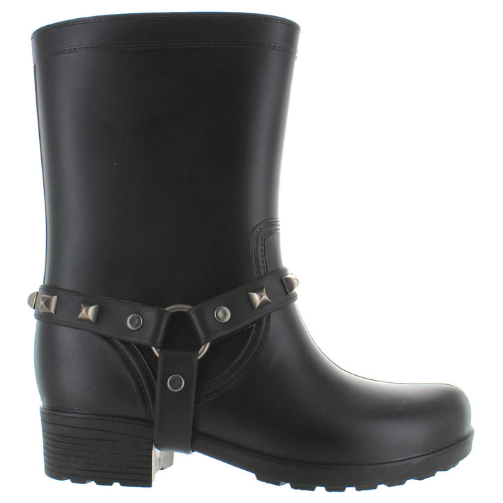 Kixters Moto - Black Matte Studded Harness Rubber Rain Boot