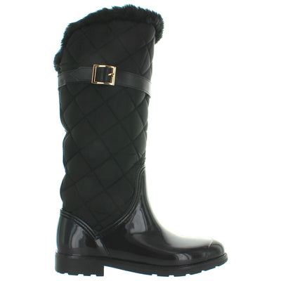 Kixters Musk - Black Shiny Rubber/Nylon Quilted Buckle Tall Rain Boot