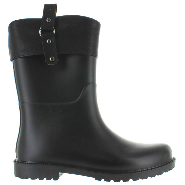 Kixters Spark - Black Matte Pull-On Collar Rubber Rain Boot