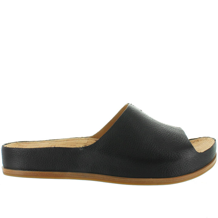 Kork-Ease Tutsi - Black Leather Footbed Slide Sandal