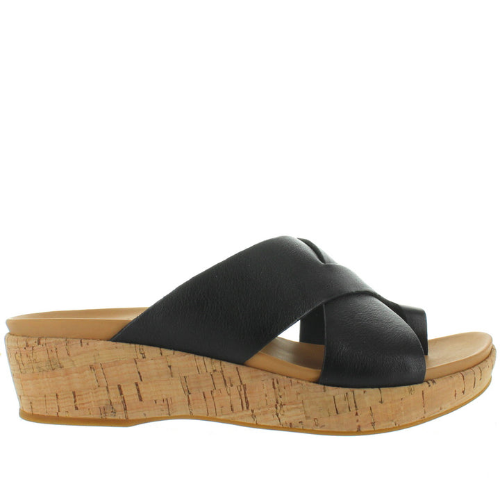 Kork-Ease Baja - Black Leather Platform/Wedge Footbed Slide Sandal