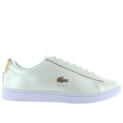 Lacoste Carnaby EVO - White Pearl/Gold Leather Lace Sneaker